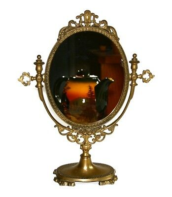 Vintage Ornate Art Nouveau Brass Pedestal Vanity Swivel Oval Mirror Stand 15.25""