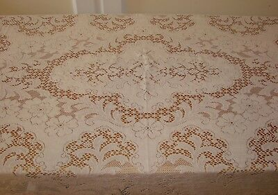 "Vintage Off-White Quaker Lace Tablecloth - 56"" x 84"" - #4410 w/ Tag"