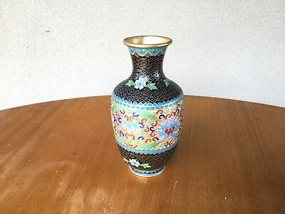 CLOISONNÉ VASE Medium Black Background Medium sized used