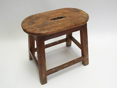 Nice Old Worn Antique Pine Stool From Artist's Studio Seat Bench