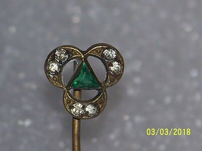Vintage Antique Victorian Stick Pin With Rhinestones and Green Stone