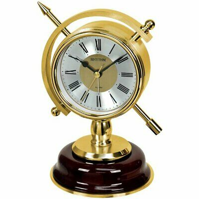 Rhythm 7960 Table Clock Quartz golden without ticking with Alarm function