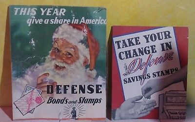 2 - WWII 1940's Original Defense War Bonds and Stamps  Cardboard Posters Ads