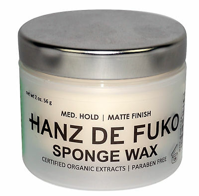 HANZ DE FUKO Sponge Wax Mens Hair Grooming 2oz Medium Hold Matte Finish NEW