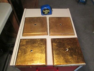 Vintage Lot of 4 Gilt Wooden Lamp Bases NOS Steampunk Platform Golden