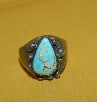VTG~MEN'S~OLD PAWN~NATIVE~NAVAJO~925~STERLING~SILVER~w/ TURQUOISE~RING~SIZE 10.5
