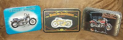 Lot Of 3 Harley Davidson Motorcycle Tins With Playing Cards 2 Decks Per Tin