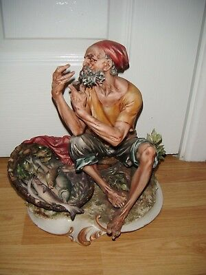 Capodimonte Old Man Cooking His Fish Dinner ~ Very Good Condition ~ Rare