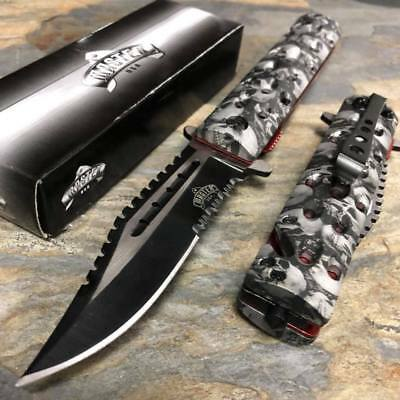 Master USA Spring Open Grey Skull Nylon Fiber Handle Serrate Blade Pocket Knife