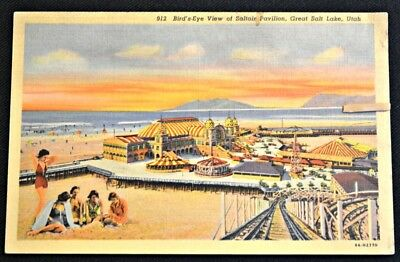 Birds Eye View Saltair Pavilion Great Salt Lake Utah UT Postcard PC Circa 1930s