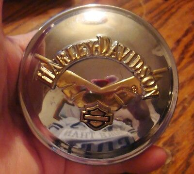 Harley Davidson Fuel Gas Cap With Gold Accents Rare Design