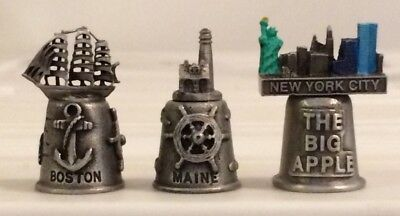 Pewter Souvenir Thimbles (Lot of 3) - BOSTON / MAINE / NYC