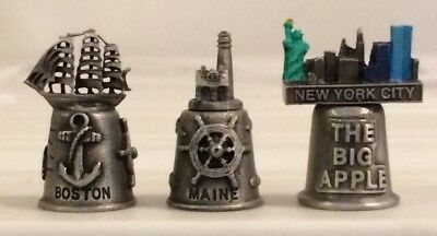 U.S. Souvenir Thimbles: Boston/Maine/New York City (Pewter, Lot of 3)