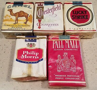 Five Cigarette Packs Pall Mall, Chesterfield, Philip Morris, Camel, Lucky Strike