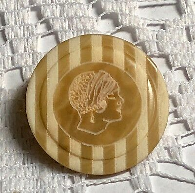 Lady's head silhouette Vegetable Ivory button, dyed brown stripe & laser etched