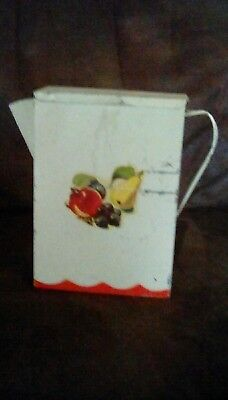 Vintage Metal Tin Laundry Soap Dispenser Pitcher with Spout, White with Fruit