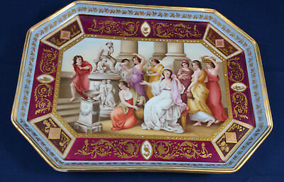 Royal Vienna 'Hero and Leander' Mythical Hand Painted Tray w Gilt, sgnd Wagner