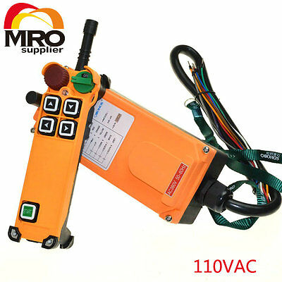 110vac 4 Channel 1 Speed 2 transmitters Hoist Crane Truck Radio Remote Control