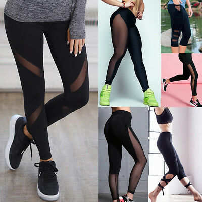Women Sports YOGA Workout Gym Fitness Leggings Pants Jumpsuit Athletic Mesh Sexy