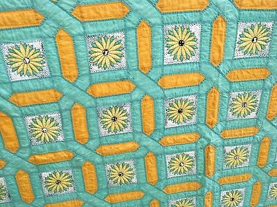Antique Vintage 1930ish Quilt~Old Green Sunflowers ??? Yellow~Unique
