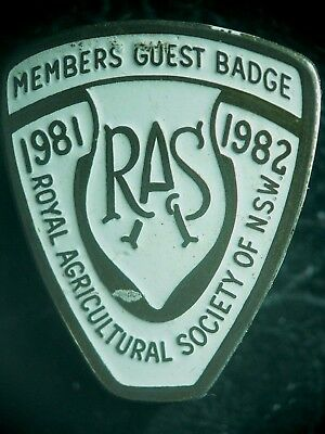 Royal Agricultural Society of  NSW  RAS  Member's Guest Badge 1981-1982