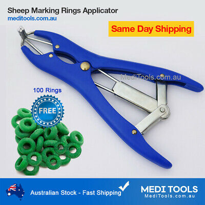 Sheep Castration/Banding/Tail Docking/Applicator/100 Rings/Cattle/Marking/Farm