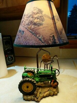 JOHN DEERE Table Lamp Light Desk Lamp Tractor with Shade Windmill