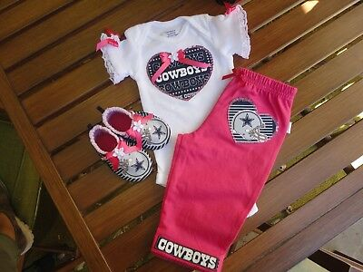 5bd9fe0c3 Dallas Cowboys Baby Girl 3 Piece Tailgating Outfit Girl Pink Pants 6-9  Months
