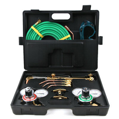 Gas Welding Cutting Kit Acetylene Oxygen Torch Welder Regulator w/ Plastic Box