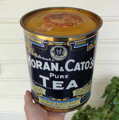 "LOVELY CONDITION 5lb 9"" HIGH MORAN & CATO'S PURE TEA TIN.  SYDNEY & MELBOURNE ++"