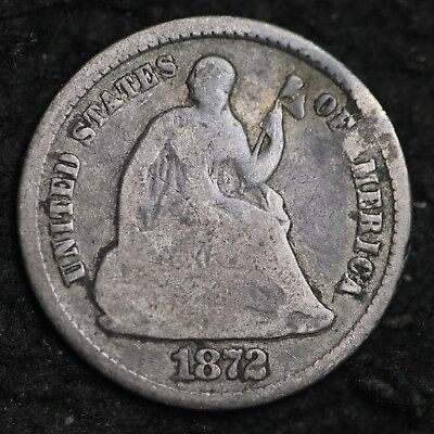 1872 Seated Liberty Half Dime CHOICE G FREE SHIPPING E257 AGE