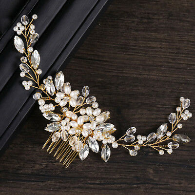 Golden Wire Pearl Hair Comb Wedding Bridal Hair Accessories Tiaras Headpieces