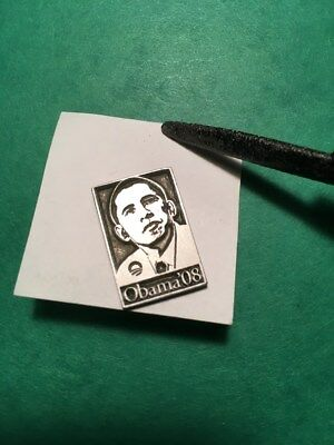 """2008 'Obama '08' Silver Lapel Pin with """"Hope"""" Image, 7/8"""" x 5/8"""", unused"""