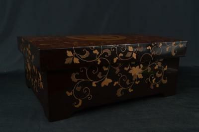 M257: Japanese XF Old Wooden Lacquer ware CONTAINER for Accessories Case Box
