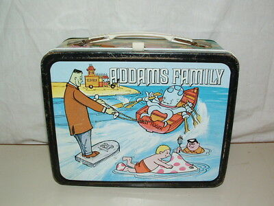 1974 THERMOS brand TIN-LITHO ( ADDAMS FAMILY  )  LUNCHBOX ONLY