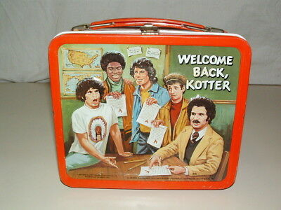 1977 EMBOSSED TIN-LITHO METAL ALADDIN WELCOME BACK KOTTER LUNCHBOX and THERMOS