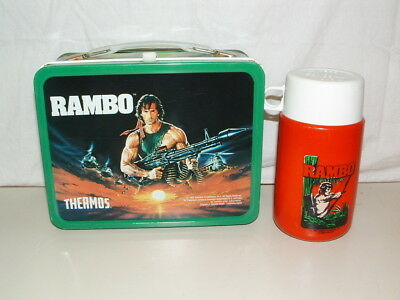 1985 THERMOS brand TIN-LITHO RAMBO LUNCHBOX and THERMOS BOTTLE