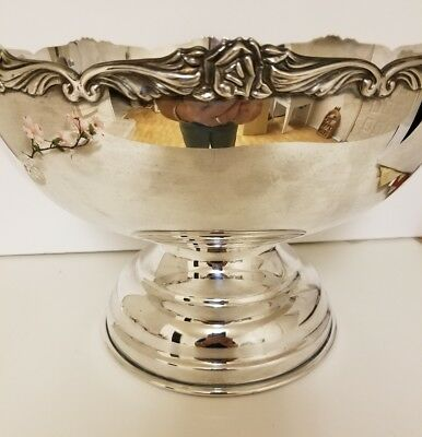 """NICKEL SILVER E.P. PUNCH OR LARGE CENTERPIECE BOWL  12"""" wide by 8"""" tall"""