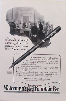 1920's Old Magazine Print Ad Waterman's Ideal Fountain Pen