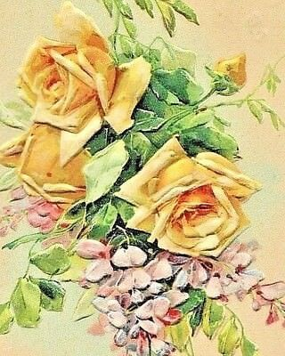 Signed Catherine Klein Yellow Roses & Violets 1910 British Greeting Postcard