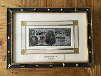 1907 Woodchopper $5 Legal Tender Large Note in Beautiful Embossed Mat / Framed