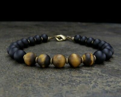 Black Onyx and Tiger Eye Bracelet - Mens Beaded Bracelet - Mens Jewelry