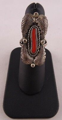 Vintage Native American Handmade Sterling Silver Coral Ring R156