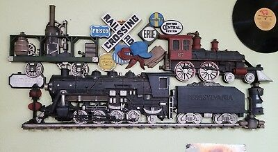 Railroad Crossing Pennsylvania Crows Point Missouri Pacific SanteFe Train Sign