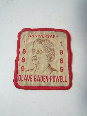 Girl Guide Sew On Cloth Patch Anniversary 1889 1989 Olave Baden-Powell