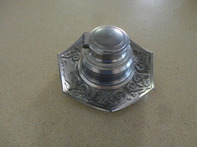Vintage 3 piece screw-in solid metal inkwell