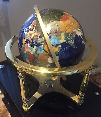 Gem Stone Globe made with minerals and semi precious stones on brass stand