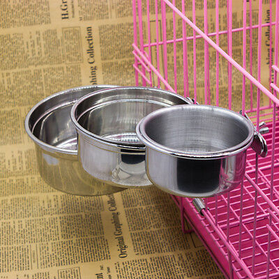 AU Dog Puppy Cat Pet Animal Cage Crate Run Hang-on Bowl Feeding Food Water Dish