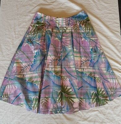 Review Skirt Size 14 Palm Leaves Print Midi Length Pink Purple White Fully Lined