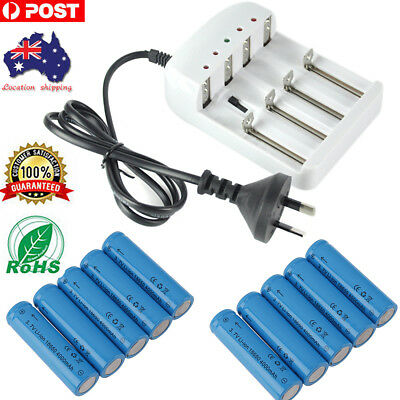 Rechargeable 10x18650 4000mAh Protected Battery Charger For Headlamp Flashlight